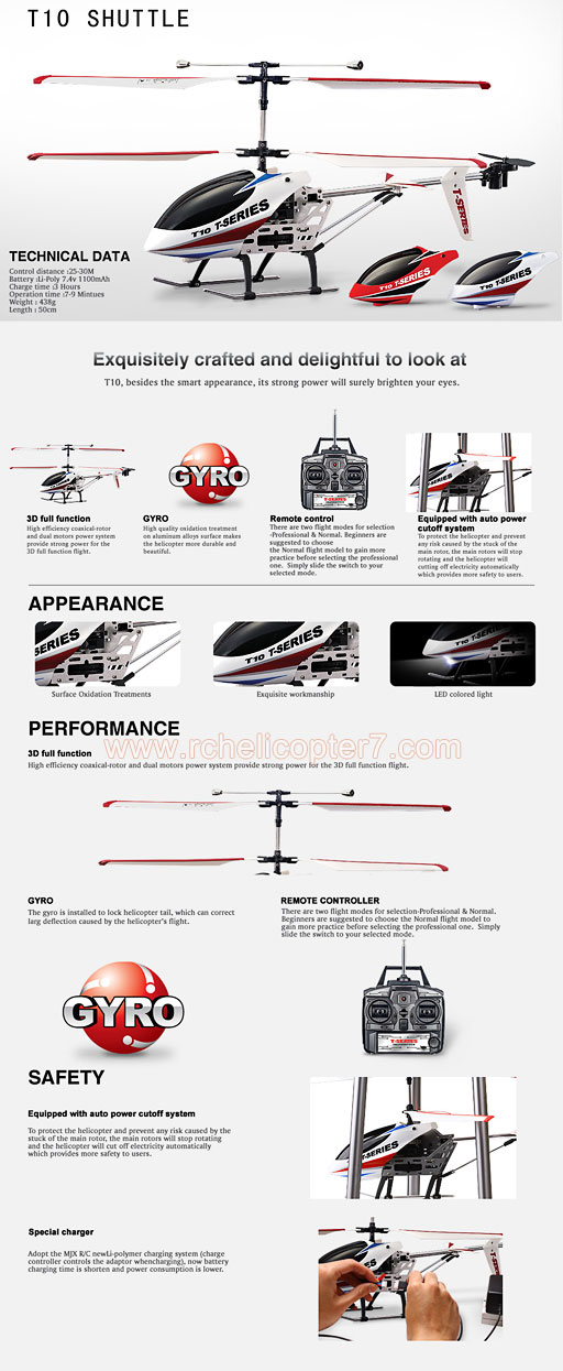 MJX R/C T10 SHUTTLE 3 5 CHANNEL RC HELICOPTER WITH GYRO : RC